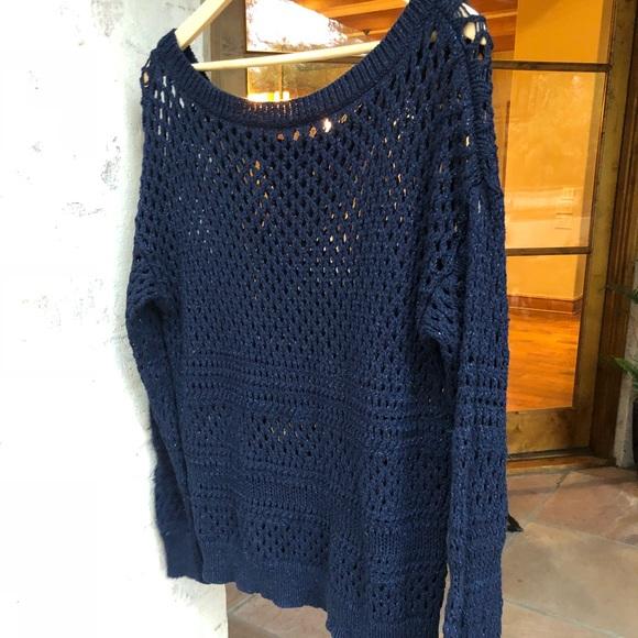 Dark Blue crochet, holes, Sweater American Eagle
